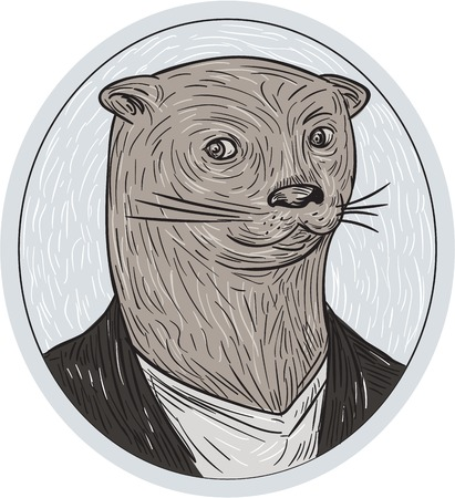 oval shape: Drawing sketch style illustration of an otter head wearing shirt and blazer facing front set inside oval shape.
