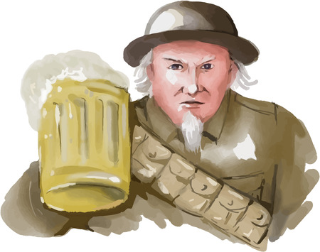 world war 1: Watercolor style illustration of Uncle Sam as soldier wearing World War one 1 uniform toasting a mug of beer viewed from front on isolated white background.