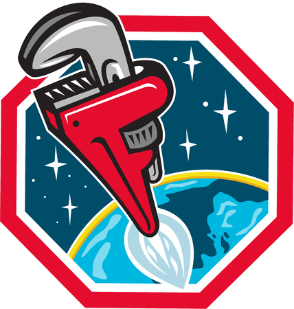 Illustration of a pipe wrench rocket booster blasting off from earth to space set inside hexagon shape done in retro style.