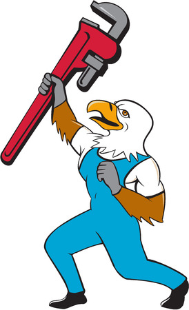 Illustration of a american bald eagle plumber standing with knee bended raising up giant pipe wrench adjustable wrench over head looking up viewed from the side  on isolated white background done in cartoon style.
