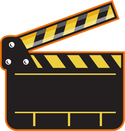 clapper board: Illustration of an open movie camera slate clapper board viewed from front set on isolated white background done in retro style.
