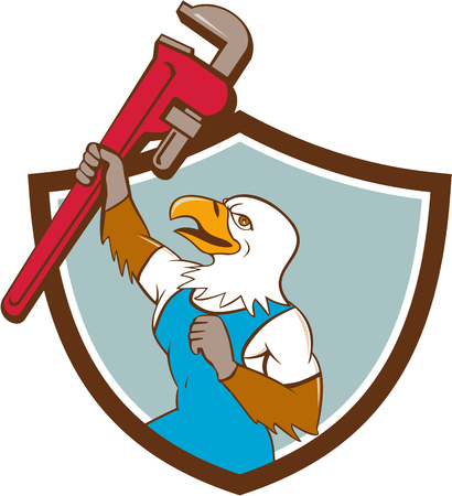 Illustration of a american bald eagle plumber raising up giant pipe wrench adjustable wrench over head looking up viewed from the side set inside circle on isolated background done in cartoon style. Illustration