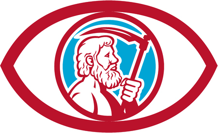 greek god: Illustration of Cronus or Kronos, Greek God and leader of Titans, holding a scythe or a sickle viewed from the side set inside an eye on isolated background done in retro style. Illustration