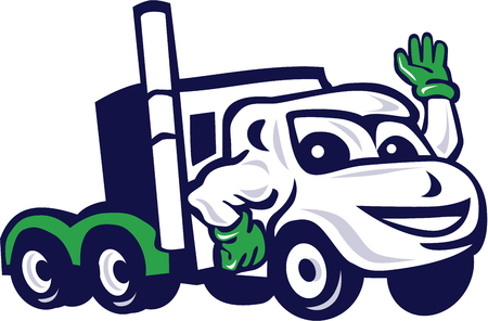semitruck: Illustration of a semi truck rig waving set on isolated white background done in cartoon style. Illustration