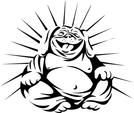 Black and white illustration of a bulldog laughing buddha sitting viewed from front set on isolated white background done in retro style.