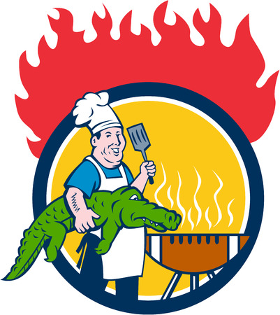 Illustration of a chef smiling carrying alligator in one hand and holding spatula in the other hand cooking with bbq grill set inside circle with fire in the background  done in cartoon style.