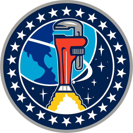 Illustration of a pipe wrench rocket booster orbitting earth space set inside circle with stars in the background done in retro style.