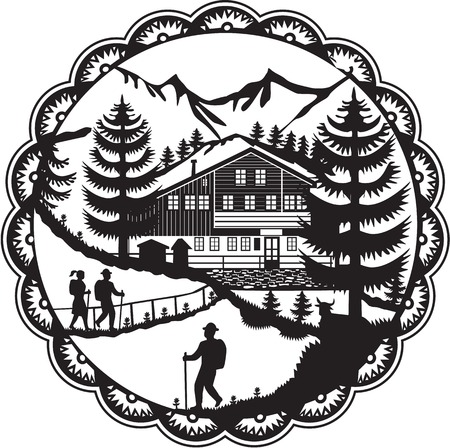 Swiss decoupage style illustration of a Swiss Chalet nestled in the foot of the Alps with Alpine trees and hikers set inside rosette done in black and white. Illustration