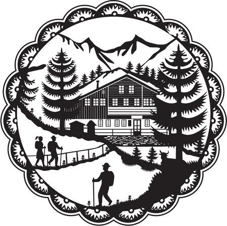 Swiss illustrazione stile decoupage di uno chalet svizzero situato nel piedi delle Alpi con alberi alpino ed escursionisti posti all'interno rosetta fatto in bianco e nero. Archivio Fotografico - 68286589