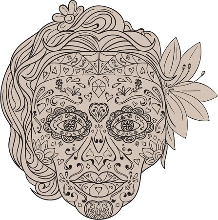 white sugar: Illustration of a decorated female sugar skull or calavera  with hair and flowers viewed from front to commemorate the Day of the Dead on isolated white background done in retro style.