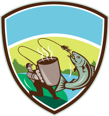 hooking: Illustration of a fly fisherman fishing holding mug hooking salmon jumping viewed from the side set inside shield crest with mountain, trees and sun in the background done in retro style Illustration