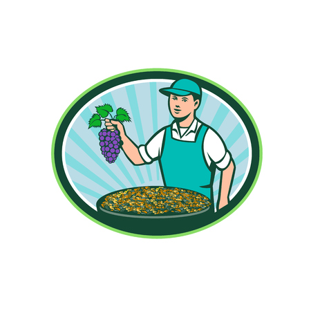 oval shape: Illustration of a farm boy wearing hat holding grapes with bowl of raisins set inside oval shape with sunburst in the background done in retro style.