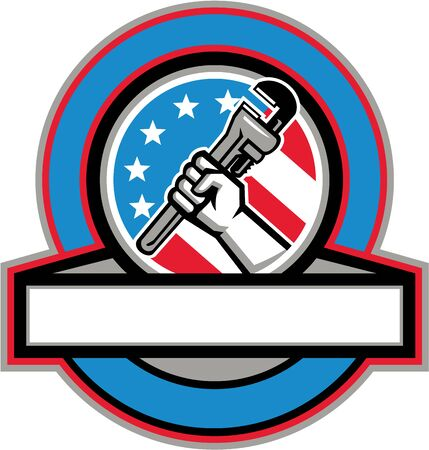 hand wrench: Illustration of a plumber hand holding adjustable pipe wrench viewed from the side set inside circle with usa american stars and stripes flag in the background done in retro style.