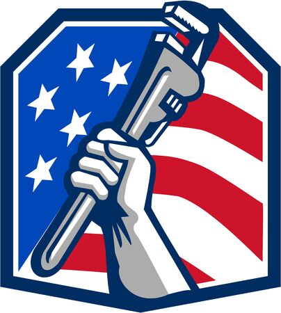 heptagon: Illustration of a plumber hand clutching adjustable pipe wrench viewed from the side set inside heptagon shield crest shape with usa stars and stripes flag in the background done in retro style.