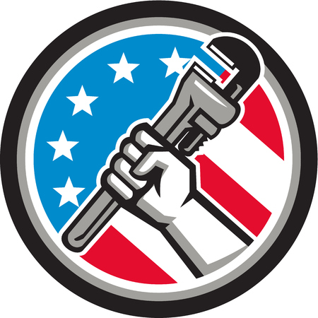 angled: Illustration of a plumber hand holding adjustable pipe wrench in an angled position viewed from the side set inside circle with usa american stars and stripes flag in the background done in retro style.