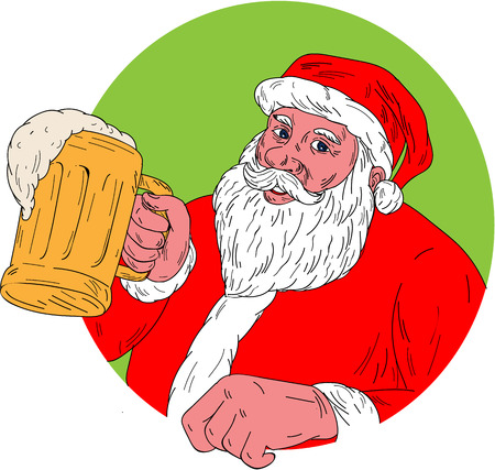 kris kringle: Drawing sketch style illustration of Santa Claus smiling facing front holding mug drinking beer set inside circle on isolated background.
