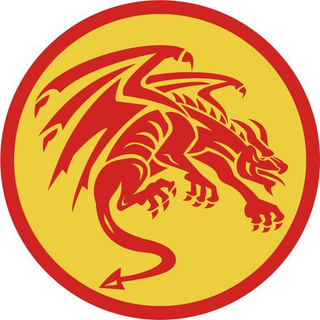 Illustration d'une gargouille du dragon accroupi vu de côté mettre l'intérieur du cercle sur fond isolé fait dans le rétro style.