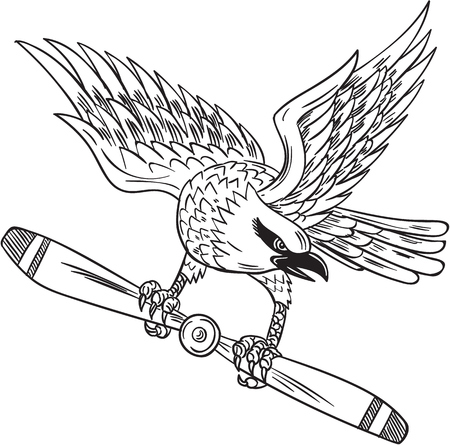 passerine: Drawing sketch style illustration of a shrike, a carnivorous passerine birds of the family Laniidae clutching propeller blade looking to the side viewed from front set on isolated white background.