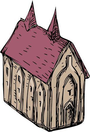 edad media: Gráfico de la ilustración del estilo del bosquejo de una iglesia medieval visto desde el ángulo alto fijado en el fondo blanco aislado.