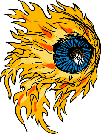 Drawing sketch style illustration of an eyeball on fire viewed from front set on isolated white background. Illustration