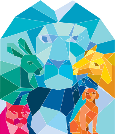 Low polygon style illustration of a lion, rabbit, cat, horse, dog and goat viewed from front set on isolated white background.