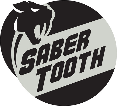 Illustration of a saber tooth tiger or sabre-tooth cat with long, curved saber-shaped canine teeth of which the best known genera is Smilodon head viewed from the side with the word text Saber Tooth set inside circle done in retro style. Illustration