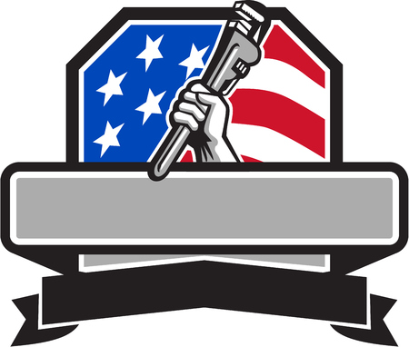 Illustration of a plumber hand holding adjustable pipe wrench viewed from the side set inside shield crest with usa american stars and stripes flag in the background done in retro style. Иллюстрация