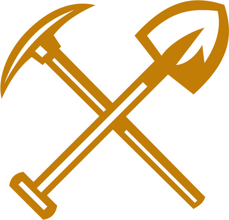 Illustration of a pick axe crossed with shovel viewed from front set on isolated white background done in retro style.