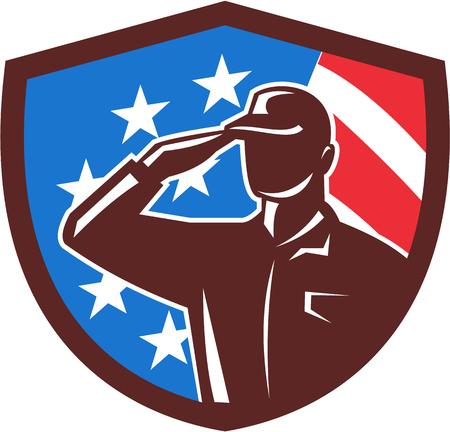 Ilustración de un soldado americano silueta de soldado saludando conjunto dentro escudo cresta con bandera de Estados Unidos estrellas y rayas en el fondo hecho en estilo retro.