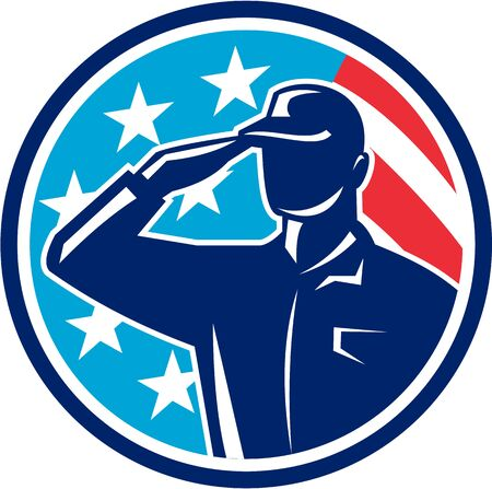 saluting: Illustration of an american soldier serviceman silhouette saluting set inside circle with usa flag stars and stripes in the background done in retro style.