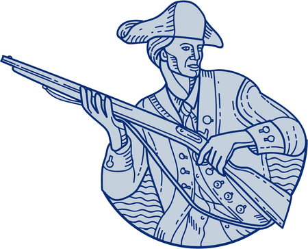 Mono line style illustration of an american patriot minuteman holding rifle looking to the side viewed from front set on isolated white background. Illustration