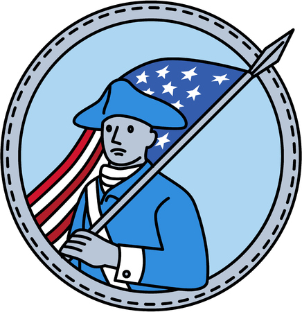 serviceman: Mono line style illustration of an American revolutionary soldier serviceman holding USA stars and stripes flag on shoulder set inside circle on isolated background.
