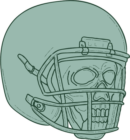 quarterback: Drawing sketch style illustration of a skull of a football quarterback QB player wearing helmet looking to the side set on isolated white background. Illustration
