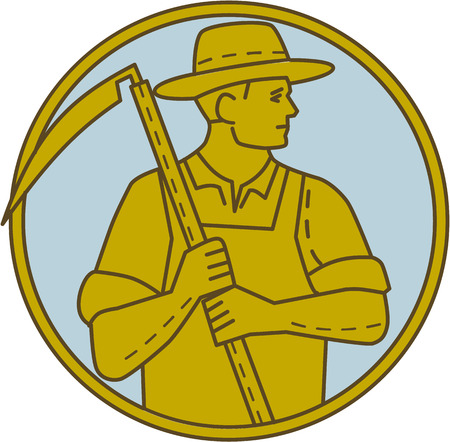 guadaña: Mono line style illustration of an organic farmer farm worker holding scythe looking to the side set inside circle on isolated background.
