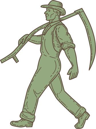 guadaña: Mono línea estilo ilustración de un agricultor orgánico granjero explotación hada en el hombro caminando visto desde el lado de conjunto sobre fondo blanco aislado.