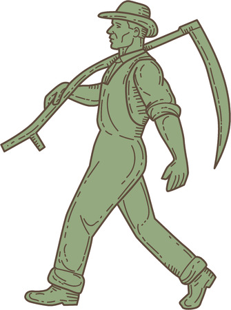 scythe: Mono line style illustration of an organic farmer farm worker holding scythe on shoulder walking viewed from the side set on isolated white background. Illustration