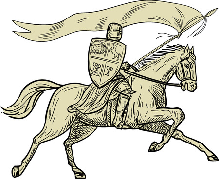 Drawing sketch style illustration of knight horseback in full armor holding lance, shield and flag riding horse viewed from the side on isolated white background done.