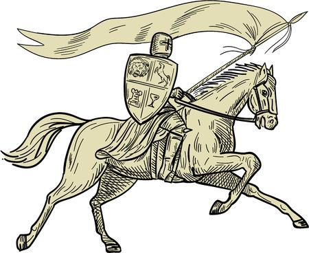 Tekenen van schets stijl illustratie van ridder te paard in volle wapenrusting met lans, schild en vlag rijpaard gezien vanaf de kant op witte achtergrond gedaan. Stock Illustratie