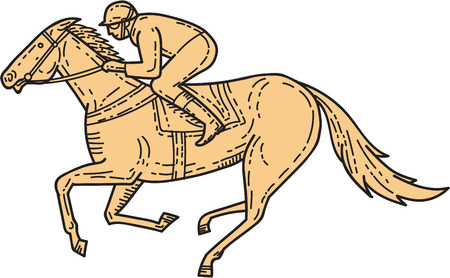 Mono line style illustration of horse and jockey racing viewed from the side set on isolated white background. Illustration