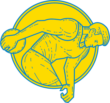 single man: Mono line style illustration of a discus thrower athlete throwing viewed from the side set inside circle on isolated background. Illustration