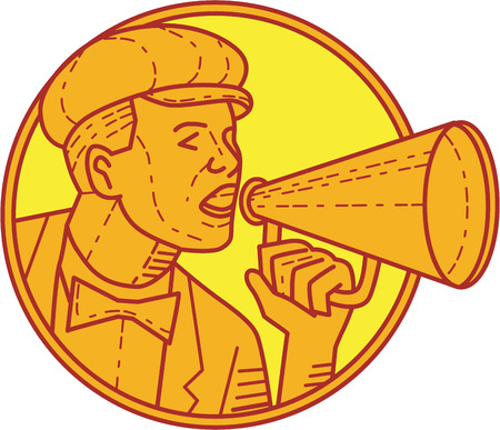 movie director: Mono line style illustration of a vintage movie director cameraman shouting using megaphone viewed from the side set inside circle on isolated background. Illustration