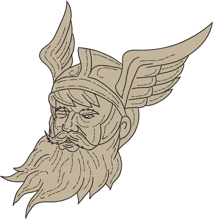 Drawing sketch style illustration of a head of Norse mythology god, Odin with beard, hat and blind on one eye viewed from front set on isolated white background done in retro style.