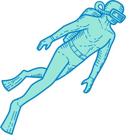 single man: Mono line style illustration of a scuba diver diving swimming viewed from the side set on isolated white background.