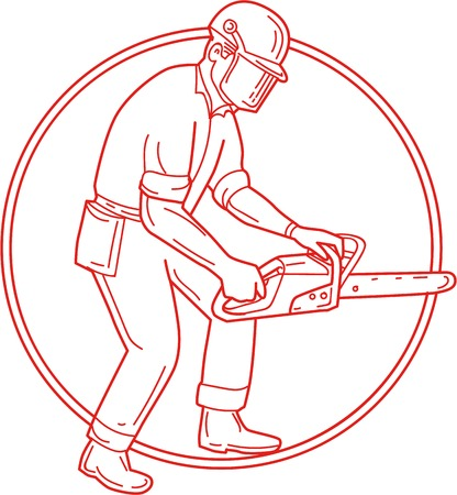 Mono line style illustration of lumberjack arborist tree surgeon wearing helmet protective gear holding operating a chainsaw viewed from the side set inside circle on isolated background.