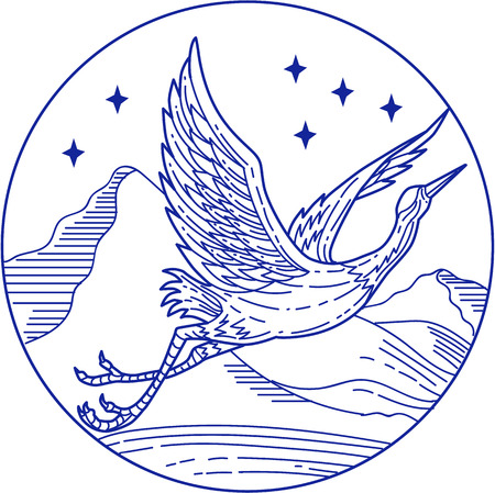wading: Mono line style illustration of a great blue heron flying viewed from the side set inside circle with stars and mountain in the background. Illustration