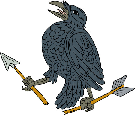 clutch: Drawing sketch style illustration of a crow looking up clutching a broken arrow viewed from the side set on isolated white background. Illustration