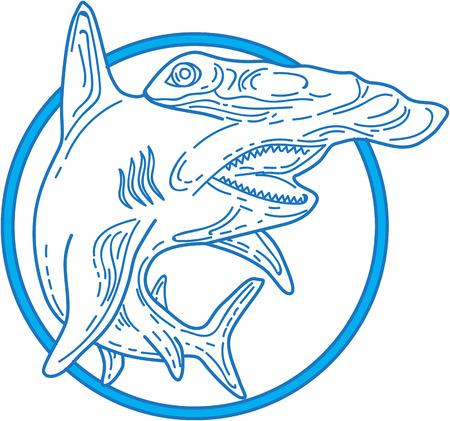 single animal: Mono line style illustration of a hammerhead shark set inside circle on isolated white background.