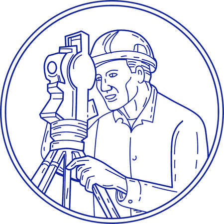 simple line drawing: Mono line style illustration of a surveyor geodetic engineer with theodolite instrument surveying viewed from side set inside circle on isolated background.