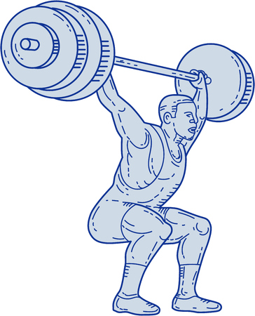 Mono line style illustration of a weightlifter lifting barbell weights with both hands set  on isolated white background. Illustration