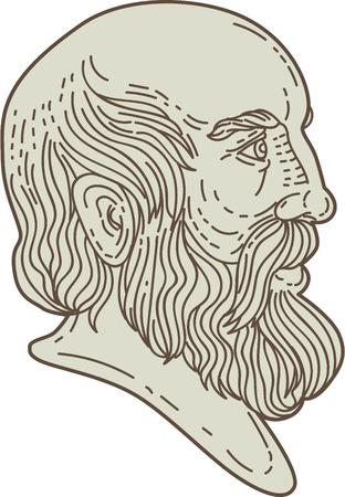 Mono lijnstijl illustratie van de Griekse filosoof Plato hoofd gezien vanaf de zijkant ingesteld op geïsoleerde witte achtergrond. Stock Illustratie